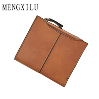 MENGXILU Wallet Lady Snap Fastener Zipper Short Women Wallet Vintage Matte PU Leather Money Bag Clutch