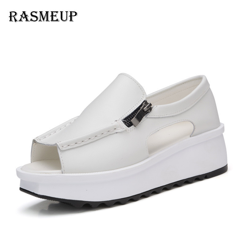 RASMEUP Genuine Leather Women's Platform Sandals 2018 Fashion Women Zipper Cover Heel Sandals Woman White Open Toe Summer Shoes gktinoo 2018 summer shoes woman open toe women genuine leather high heel sandals casual platform sandals women sandals