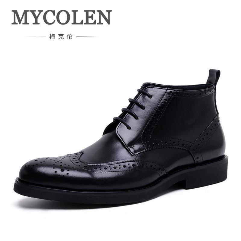 MYCOLEN 2018 NEW Spring Man Brown Boots Vintage Brogue Style Men Shoes Leisure Lace-up Leather Martin Boots For Man Chaussure 2016 new autumn winter man casual shoes sport male leisure chaussure laced up basket shoes for adults black