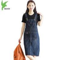 OKXGNZ Denim Dress Women 2017 Summer Fashion Costume Medium Long Lovely Leisure Cowboy Vest Dress Plus