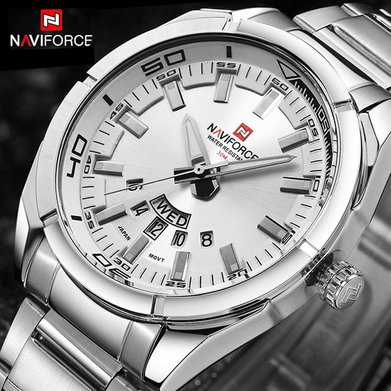 Prix pour NAVIFORCE De Luxe marque Montres À Quartz Hommes En Acier Plein montre de Sport reloj hombre Armée Militaire montre-bracelet relogio masculino 2017