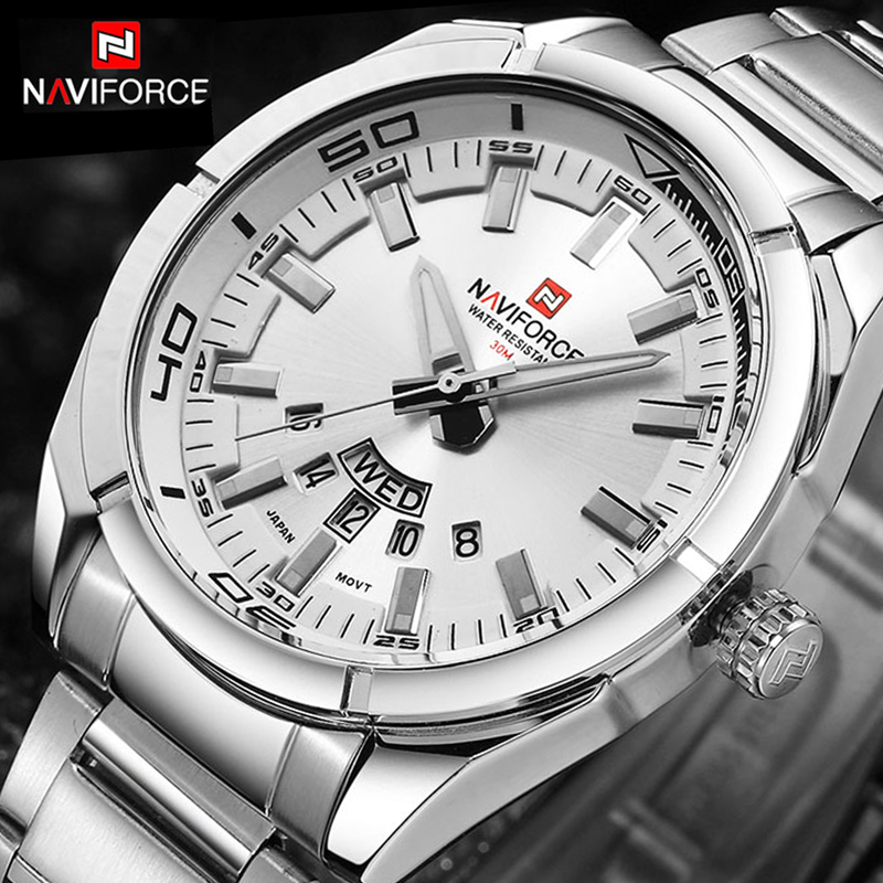 NAVIFORCE Luxury brand Quartz Watches Men Full Steel Sports watch reloj hombre Army Military wristwatch relogio masculino 2017