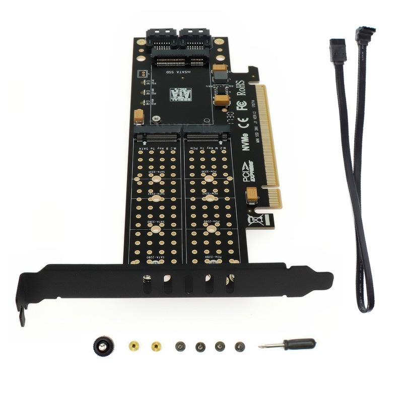 Pci-e 3.0x16 para m.2 ssd pcie para m2 adaptador raiser m chave b msata 2 x 7pin sata porta nvme m2 ssd ahci msata 3 em 1 cartão de riser