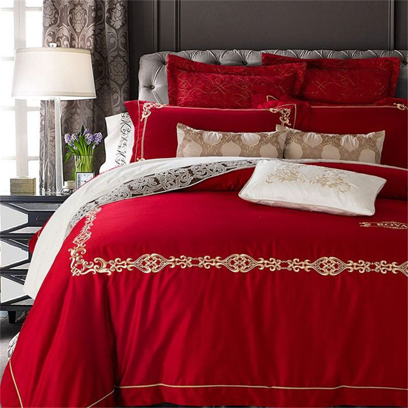 panlonghome high end embroidery red wedding bedding set cotton satin home textiles quilt cover. Black Bedroom Furniture Sets. Home Design Ideas