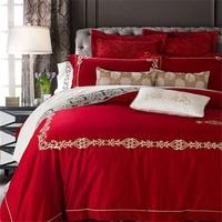 Panlonghome высокого класса Вышивка красные свадебные Постельное белье хлопок сатин Текстиль для дома Стёганое Одеяло Обложка Постельное белье