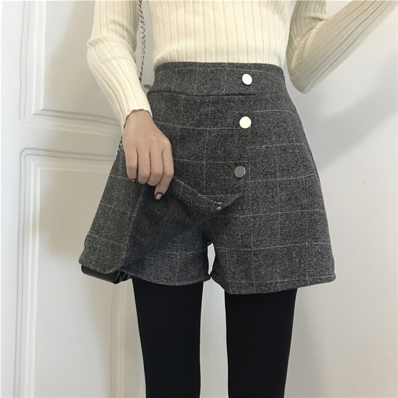 Women   Shorts   High Waisted Street Wear Plaid England Style Button Fall and Winter Mini   Shorts   Skirts Irregular   Shorts   for Woman