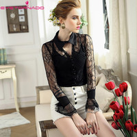 Flare sleeve V neck lace blouse women summer see through sexy party club shirt female white casual work OL shirts top E7793