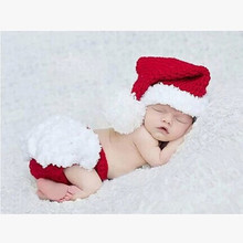 Newborn Infant Baby Christmas hat and shorts set Handmade Knit Photography Photo Props Crochet 1set XDT-102 free shipping