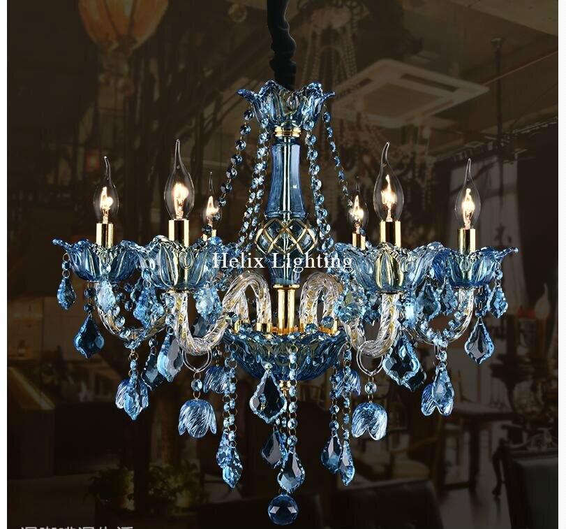 Tiffany E14 Europeo Blu Chiaro Lampadario Di Cristallo di Illuminazione Tiffany Lampadario di Cristallo Per La Camera Da Letto Sala da pranzo Salotto Luce