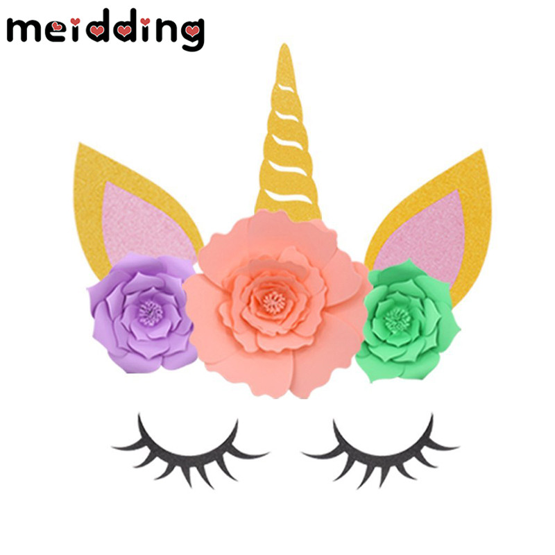 MEIDDING 1set Unicorn Party Unicorn Horn Eyelashes Ear Kids Birthday Party Baby Shower DIY Party Backdrop Decoration Supplies