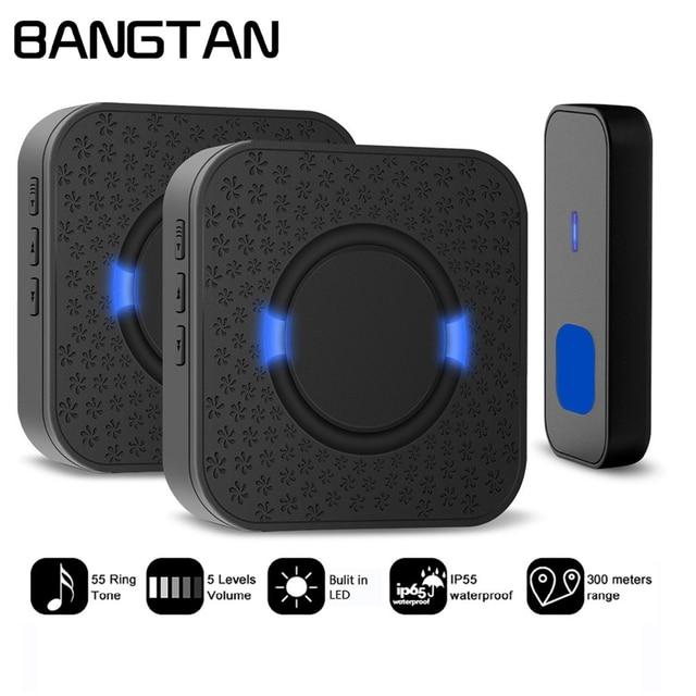 Wireless Doorbell Chime Kit Door Bell Waterproof EU US UK 2 Receivers And 1  Push Button
