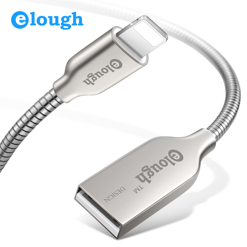 Elough Luxury Metal USB Cable for iPhone 7 8 X 5 5s 6 6s SE Pluse iPad 2 3 Mini Pro Air Fast Charging wire Charger USB Cable
