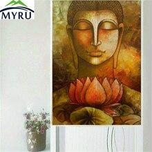 MYRU Traditional Chinese Style Classical Buddha Series Door Curtain Household Geomantic Curtain 85x150cm