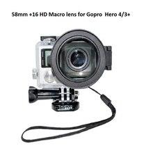 Ir Acessórios Pro 58mm + 16 Vezes Colse-up HD Macro Filtro De Lente Anel adaptador com Caso Box Bag para GoPro HERO 4 3 + câmeras