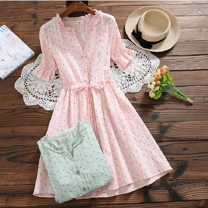 Mori Girl Sweet Summer Women Floral Dress Ruffled Collar Print String Female Vestidos Jacquard Cotton Pink Green Cute Dress girl