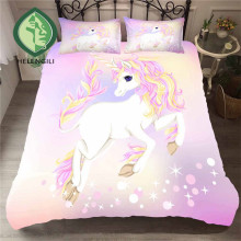 HELENGILI 3D Bedding Set Unicorn Print Duvet Cover Set Lifelike Bedclothes with Pillowcase Bed Set Home Textiles #DJS-80
