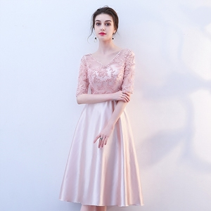 Image 2 - New pink fairy sweet lady girl women princess bridesmaid banquet party ball dress gown free shipping