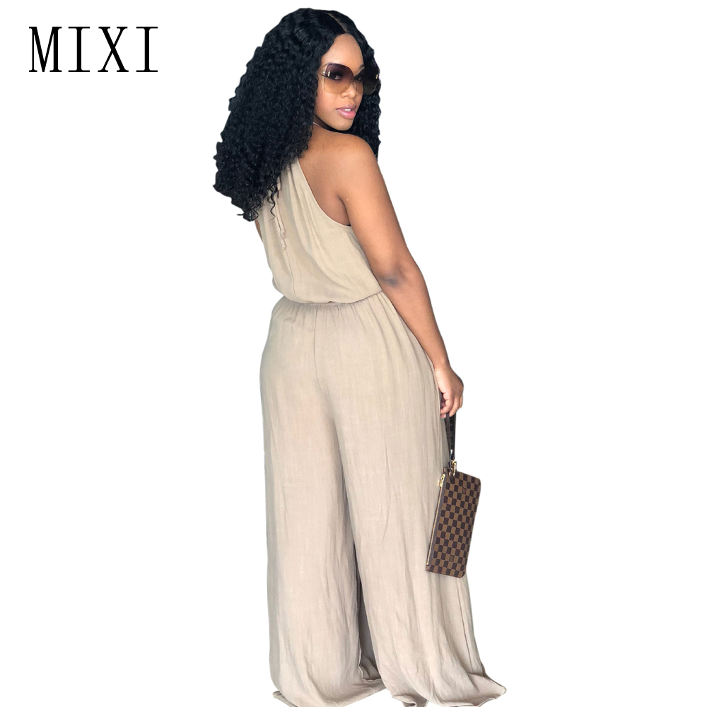 MIXI Wide Leg Jumpsuit Halter Off Shoulder Long Romper Loose Jumpsuits Sleeveless Pockets Casual Summer Jumpsuits Women Overalls