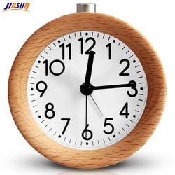 JINSUN Alarm Clock Wood Snooze Bedside Clock Backlight Digital Needle Circular Silent No Ticking Simple