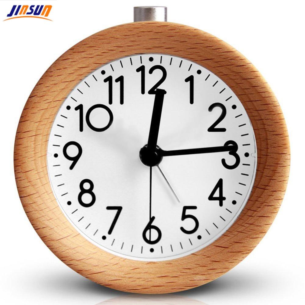 JINSUN 나무 시계 스누즈 탁상 시계 어린이 침구 원형 - 가정 장식