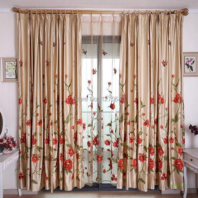 2014 Boutique Designer Luxury Embroidered Window Drape Curtain Finished Roman Organza Long Curtains Fabric Online