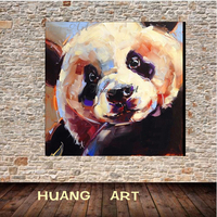 Hand painted oil paintings Chinese national treasures panda paintings modern simple living room entrance decoration painting