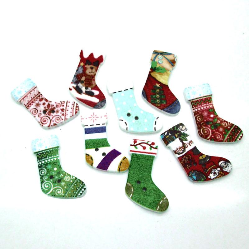 50 stücke Gemischt Weihnachten Stiefel Holz Tasten Für Kleidung ...