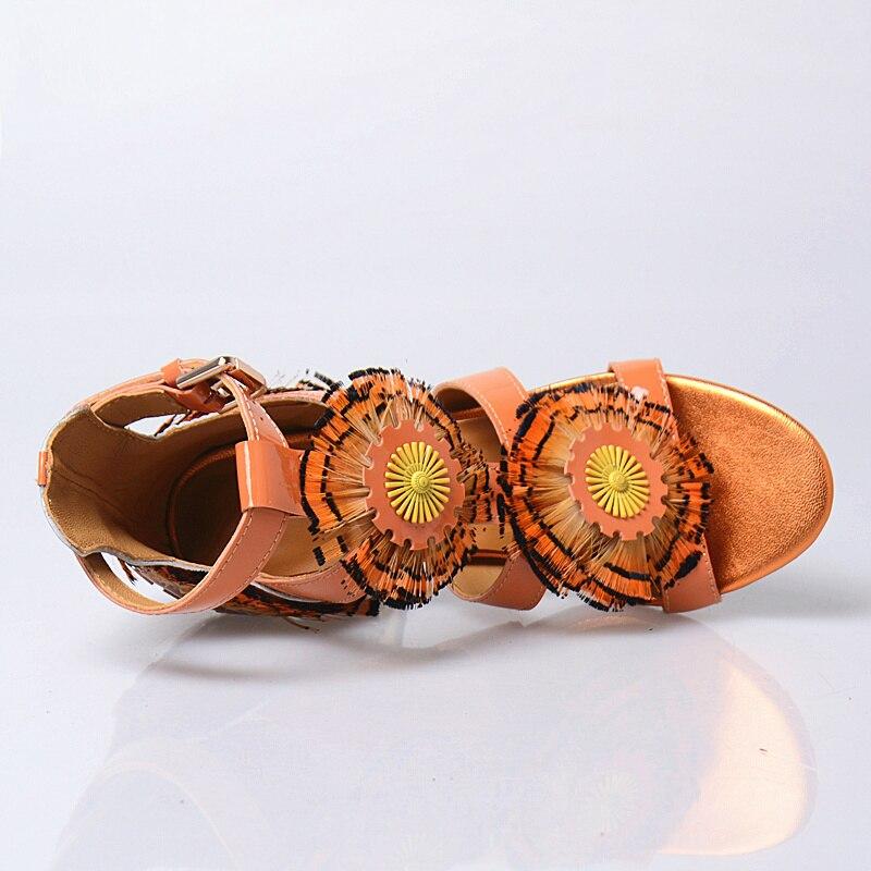 De Talons Princesse Chaussures Fleur Boucle Prova Femmes Toe white Orange Nouveau Sandales Haute Femme Prefetto Style Peep Doux Plume Strass IgqaqwFO