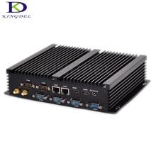 Kingdel Горячий на Продажу Новейшей Barebone 8 Г RAM Win 10 Безвентиляторный Мини Industrial PC i7 i5 4200U i3 4010U 5550U Dual LAN 6 RS232