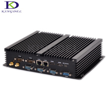 Kingdel Hot on Sale Newest Barebone 8G RAM Win 10 Fanless Mini Industrial PC i3 4010U i5 4200U i7 5550U Dual LAN 6 RS232
