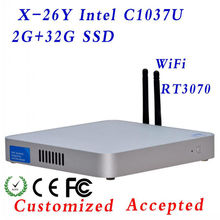 Wireless Mini PC Terminal,homebuilt computer Embedded PC Fanless X-26Y CPU C1037U Celeron Dual-  core 1.8GHz  Good quality