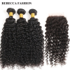 Rebecca Curly Weave Human Hair 3 Bundles With Closure Remy Brazilian Hair Weave Bundles With 4x4