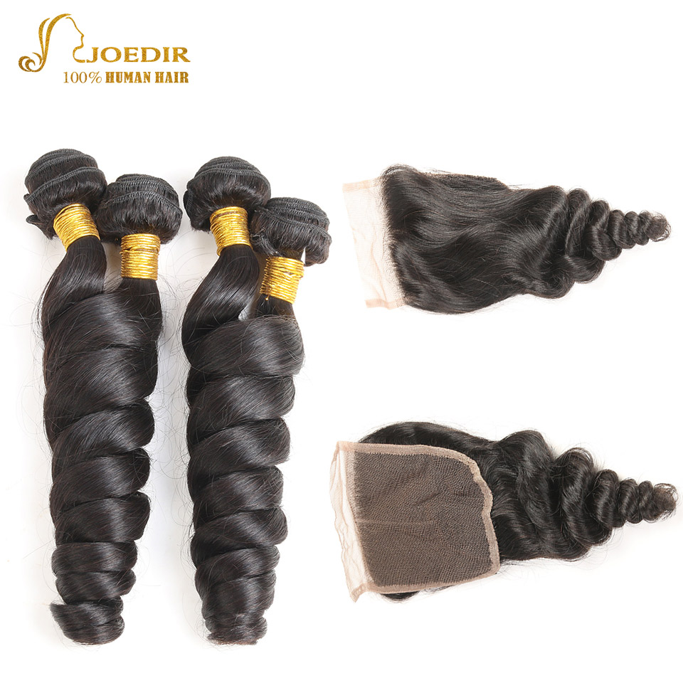 Joedir Indian Loose Wave Bundles With Lace Closure 100% Human Hair Weave Bundles 4 Bundles With Closure Free Part Non Remy Hair