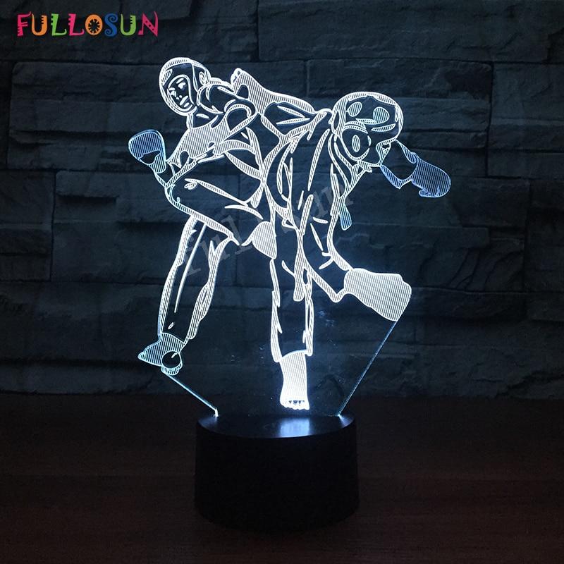 Тхэквондо 3D Светодиодная настольная лампа Иллюзия bulbing ночник Красочные Изменение USB лампа для детей и малышей подарок
