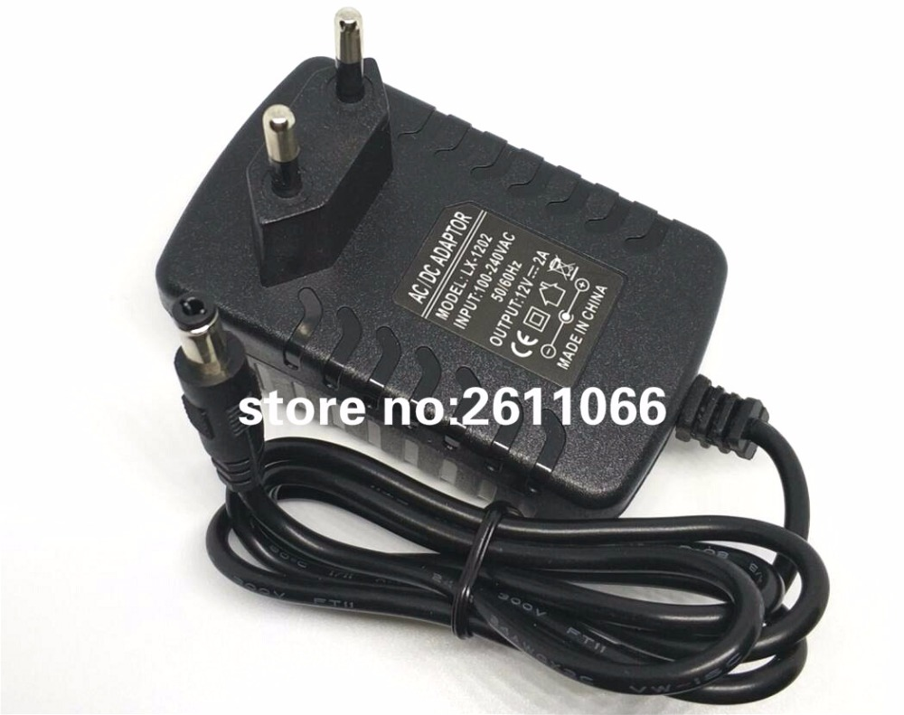 LX1202 12V2A AC 100V-240V Converter Adapter 5.5 * 2.1 DC 12V 2A 2000mA strømforsyning EU-plugg 5.5mm x 2.1-2.5mm for LED strip CCTV