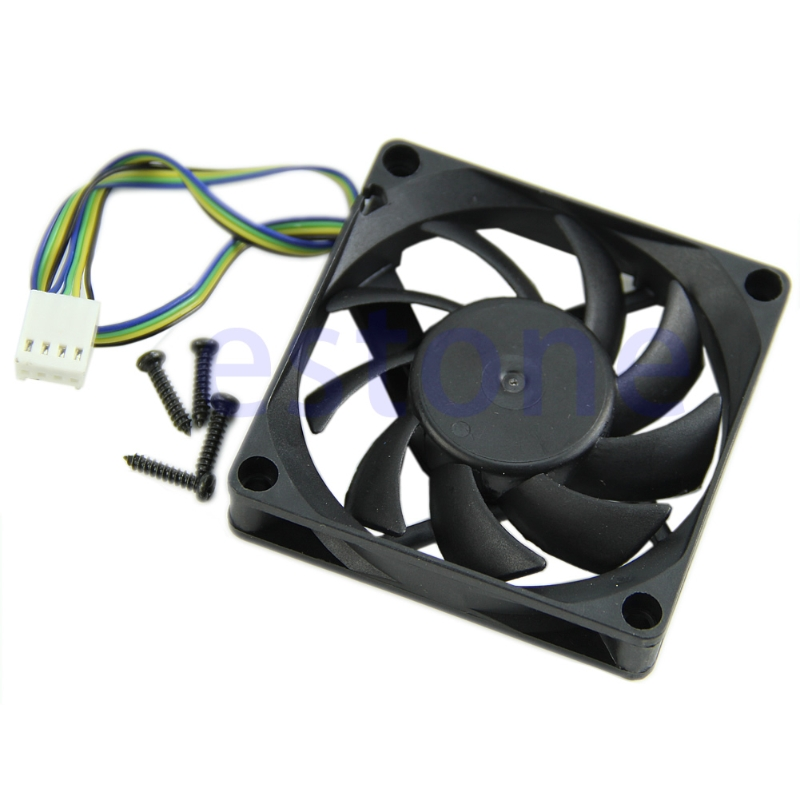 Free Shipping 70mm X 15mm Brushless Fan DC 12V 4 Pin 9 Blade Cooling Cooler NEW