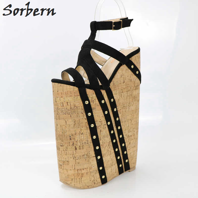 Sorbern Super High Heels Wedged Sandals For Women Think Platform Cross Straps Fetish Shoe Display Show Sandal With Heels 34-46 casual women s sandals with platform and cross straps design