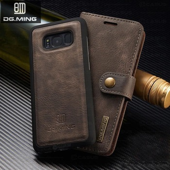 5eb7cb5bd67 Sinbeda DG MING genuino de piel de vaca de cuero para Galaxy S7 S8 S9 Plus  desmontable magnético ranura para tarjetas cartera caso para Samsung Nota 8