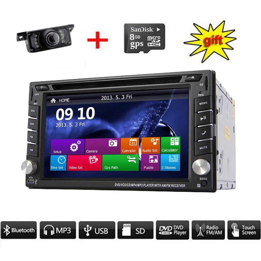Автомобильный GPS-навигатор ПК 8GB камера Автомобильный стерео GPS-навигатор Бесплатная камера Bluetooth FM-радио am автомобиля 6.2 дюймов USB SD Автомобильный DVD плеер