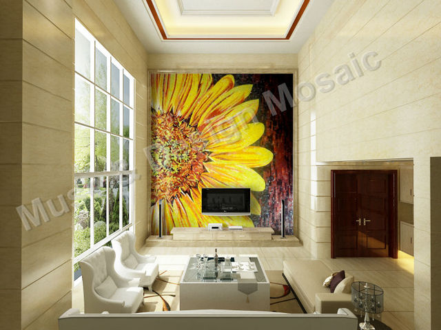 Luxury Customized Mrual Art Sunflower Mosaic Tile for Living Room ...