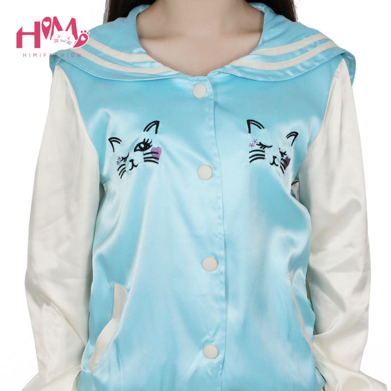 New Fashion Ladies Sky Blue All-match Cat Embroidery Thin Coat Female Loose Pink Autumn Spring Jacket Women Sailor Collar  3