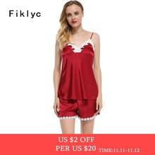 Fiklyc marque pyjamas ensembles pour femmes mode dentelle satin pyjama  d été de nuit sexy 69cd97012a0