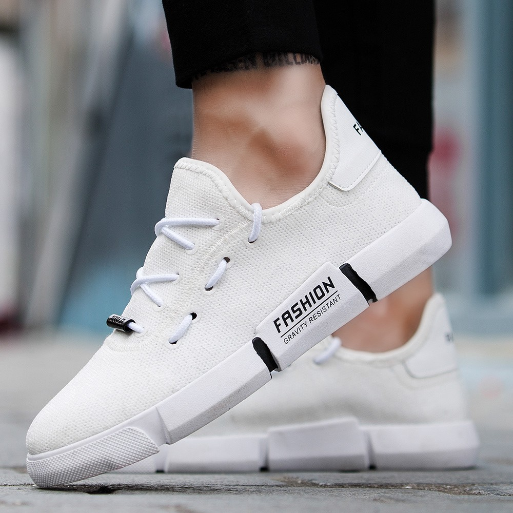 Dentelle Mannen up A25 Sneakers Casual Rond Chaussures Hommes Noir Respirant Maille Plat Bout blanc Youyedian Schoenen Xw7IgqS