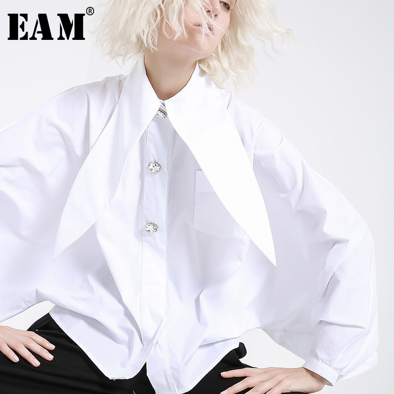 [EAM] 2020 New Spring Summer  Lapel Long Lantern Sleeve Nailed Temperament Large Size Brief Shirt Women Blouse Fashion JH362