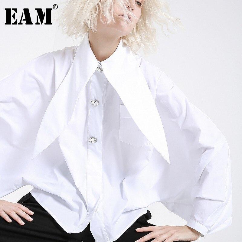 [EAM] 2020 New Spring Summer  Lapel Long Lantern Sleeve Nailed Temperament Large Size Brief Shirt Women Blouse Fashion JH362