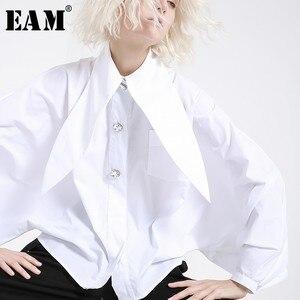 Image 1 - [EAM] 2020 New Spring Summer  Lapel Long Lantern sleeve Nailed Temperament Large Size Brief Shirt Women Blouse Fashion JH362