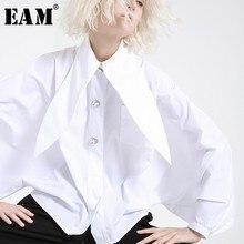 [Eam] 2020 nova primavera verão lapela manga longa lanterna pregado temperamento grande tamanho breve camisa feminina blusa moda jh362