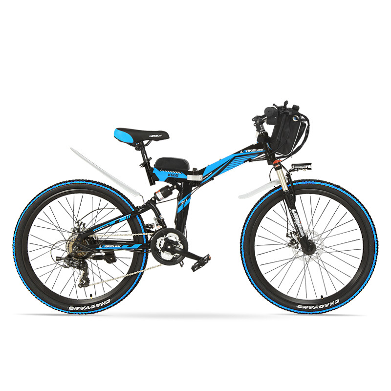 Marco de acero de alto carbono K660, 21 velocidades, 26 pulgadas, 36/48 V 240 W, bicicleta eléctrica plegable, freno de disco delantero y trasero, bicicleta E