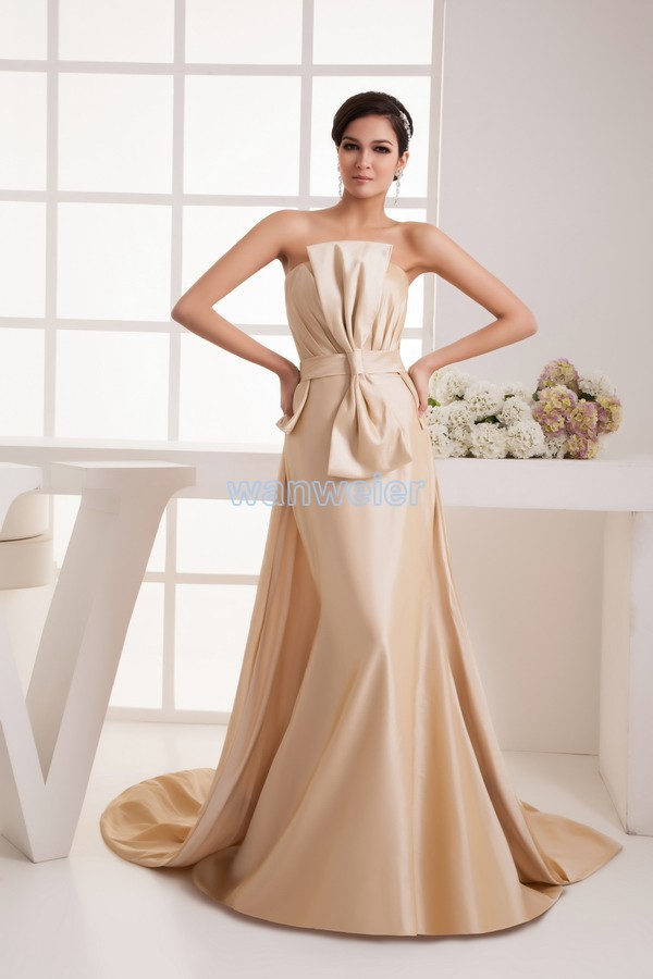 free shipping 2016 new design fashion small train handmade bow bride married long custom size/color champagne   Bridesmaid     Dress