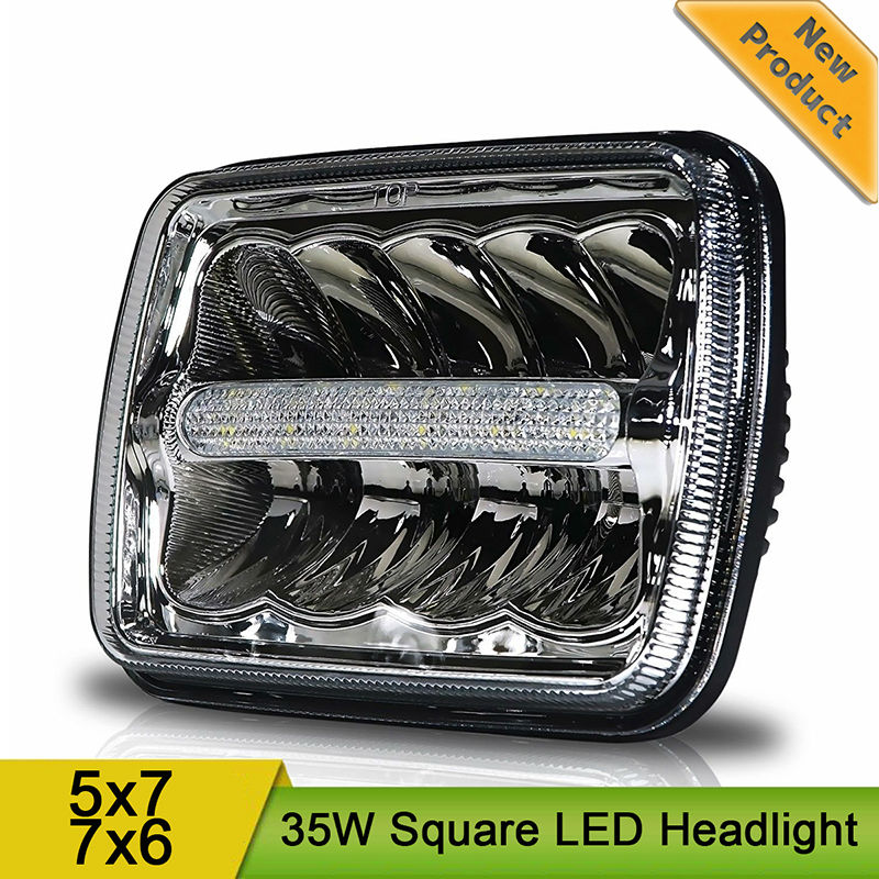 5x7 6x7 LED Headlight Assembly DRL Replace H6054 H5054 H6054LL 69822 6052 6053 for Jeep Wrangler YJ Cherokee XJ Trucks 7x6 7x5 5 x7 6 x7 high low beam led headlights for jeep wrangler yj cherokee xj h6054 h5054 h6054ll 69822 6052 6053 with angel eye